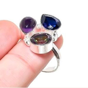 Amethyst, Blue and Mystic Topaz Silver Ring. 7.50